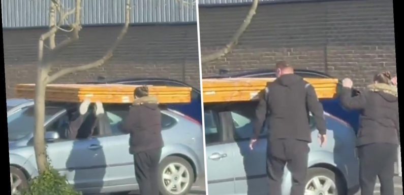 Hilarious moment DIY enthusiast had to climb through car WINDOW after blocking door with fence panels