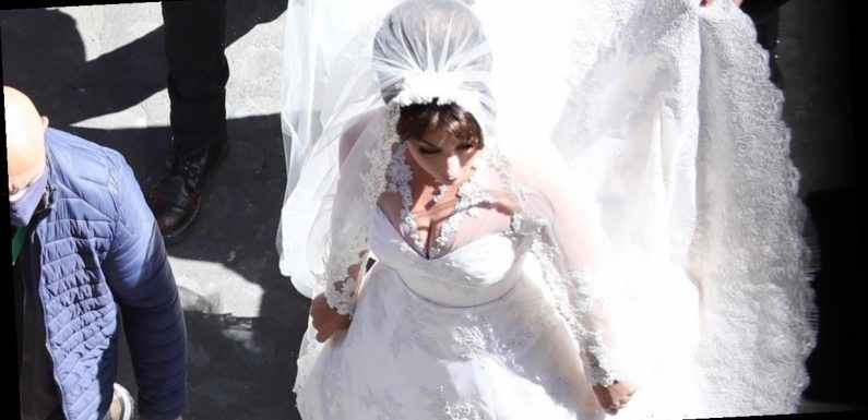 Lady Gaga Wears a Stunning Lace Wedding Dress on the Set of House of Gucci