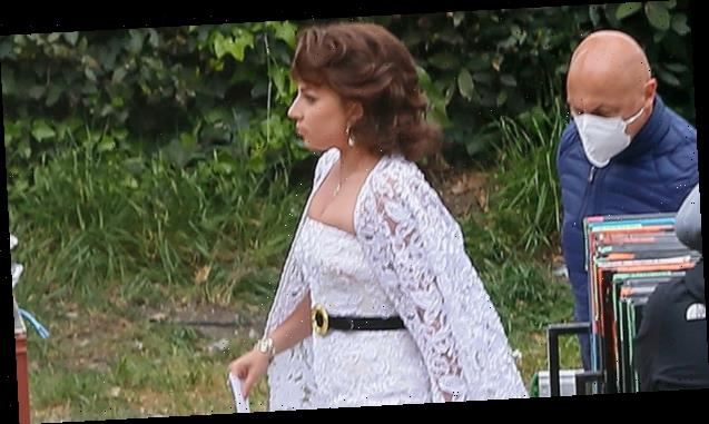Lady Gaga Stuns In White Wedding Gown While Filming 'House Of Gucci' — See New Set Pics