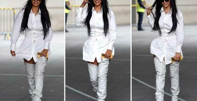 Maya Jama narrowly avoids a 'Marilyn Monroe moment' in mini-dress and knee high boots