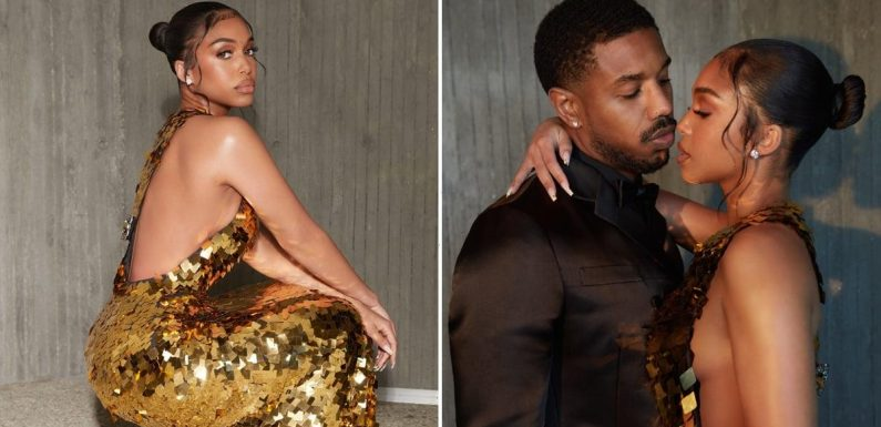 Michael B. Jordan Can't Keep His Eyes Off of Lori Harvey in This Gown, and Neither Can We