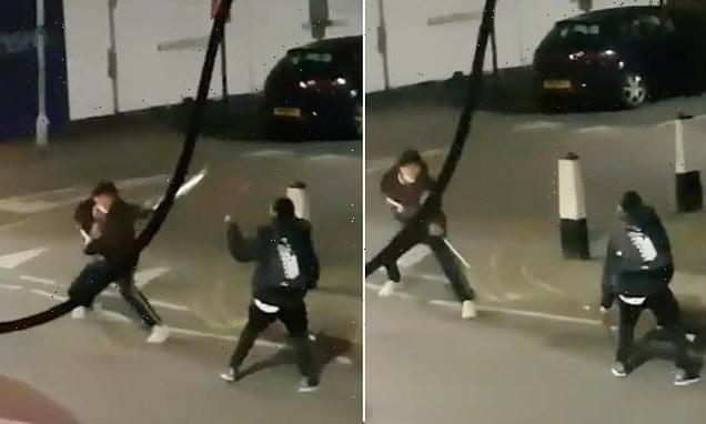 Moment hooded thugs from gangs fight with giant MACHETES in London