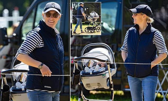 Zara Tindall enjoys the sunshine with new baby Lucas