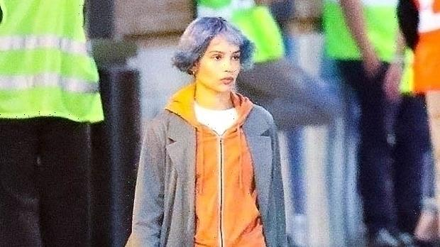 Zoe Kravitz Shows Off Shorter Purple Bowl Cut & Bangs While Filming Movie — See Before & After Pics