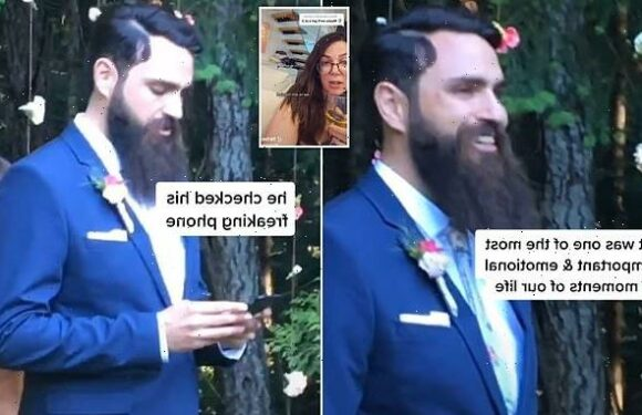 Husband is slammed after checking his phone down the aisle