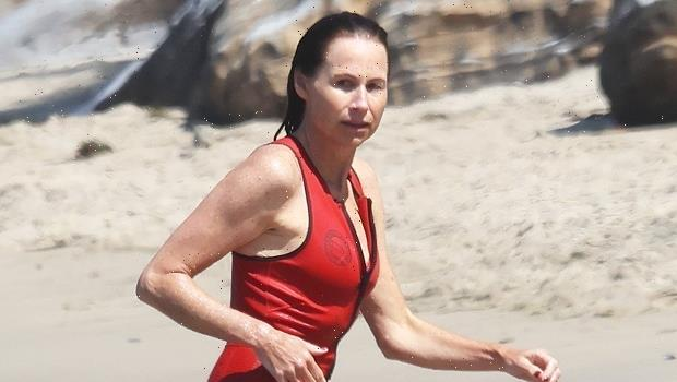 Minnie Driver, 51, Stuns In A Low-Cut Red Swimsuit While Hitting The Beach For A Swim In Malibu – Photo
