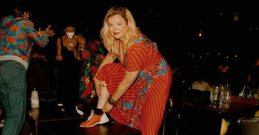 Amber Tamblyn Goes Dancing With Bowling Shoes