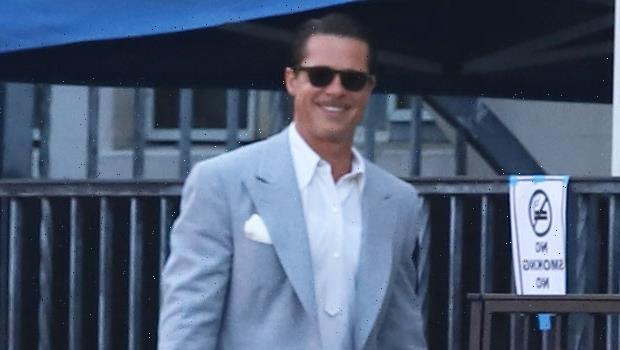Brad Pitt Is Dapper In A Gray Blazer As He Heads To 'Babylon' Set – Photos