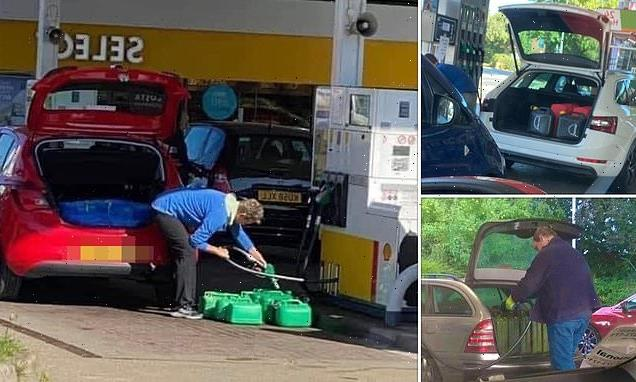Drivers pack their cars with jerry cans while panic-buyers queue