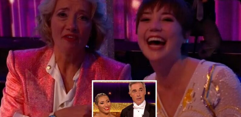 Emma Thompson cheers on her Strictly star husband Greg Wise alongside their lookalike daughter