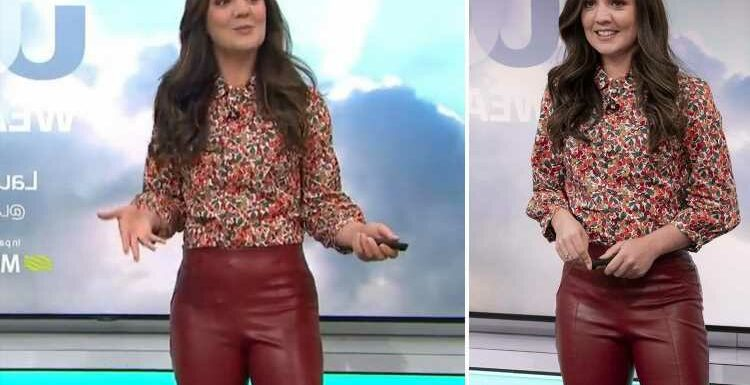 Laura Tobin red-faced as she's pranked by GMB boss with rude sound effects as she presents weather in 'leather' trousers