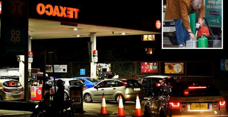 Petrol chaos: Brits queue through the NIGHT amid fuel panic with 150 soldiers on standby