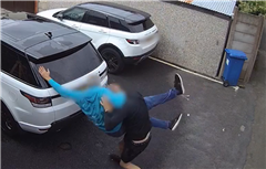 Shocking moment grandpa, 64, is body slammed and stamped on after 'dobbing driver in for side-swiping neighbour's car'