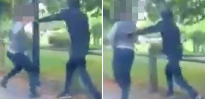Terrifying moment masked thug stabs man in back and face with huge sword in broad daylight in East London