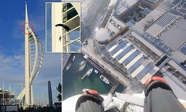 Ex-paratrooper leaps off Portsmouth's 558ft Spinnaker Tower into water