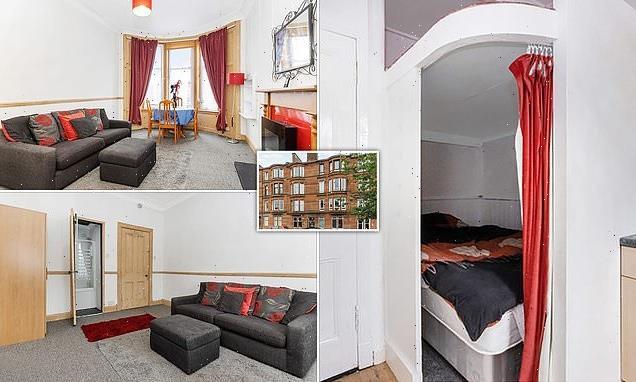 Glasgow studio flat where you sleep behind CURTAIN in kitchen is £82k