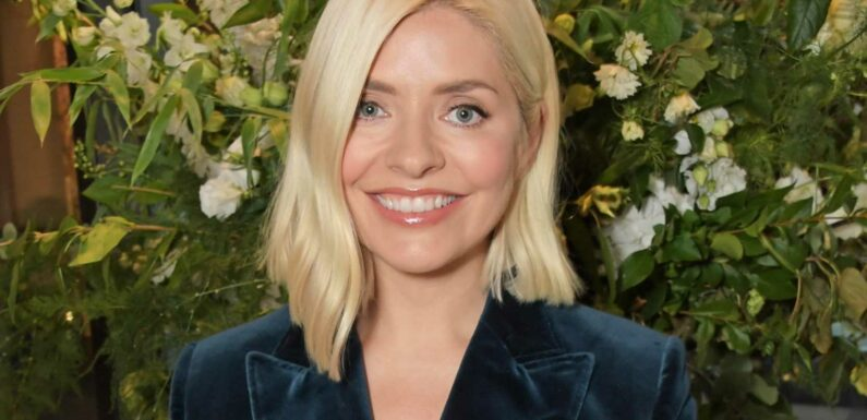Holly Willoughby stuns in a blue velvet suit at Wylde Moon website launch after revealing she'll be selling £65 candles