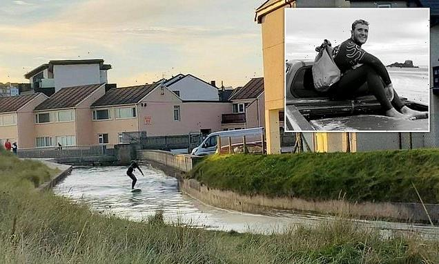Instructor takes Britain's coolest commute as he rides tidal bore wave