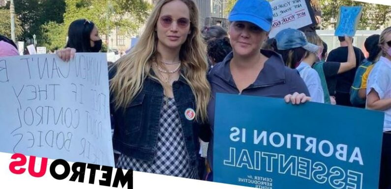Jennifer Lawrence joins Amy Schumer at abortion law protest amid pregnancy