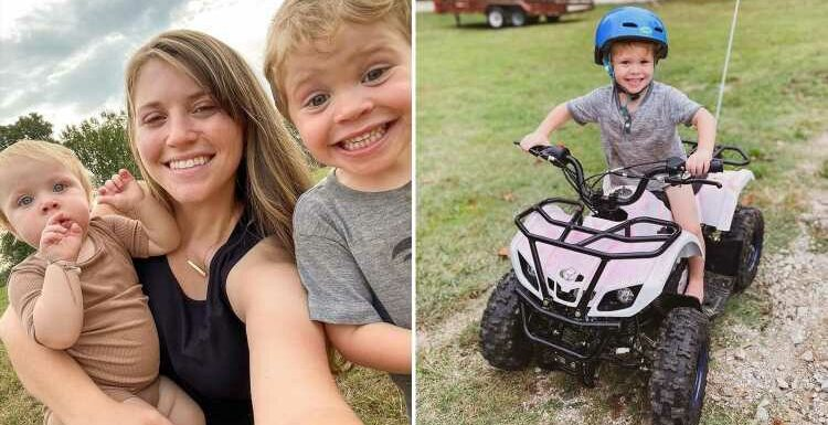 Joy-Anna Duggar slammed for allowing son Gideon, 3, to ride ATV without shoes on as fans urge star to consider 'safety'