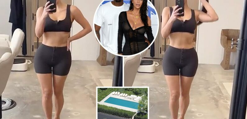 Kim Kardashian shows off her abs and curves in SKIMS underwear inside $60M mansion she won in Kanye West divorce