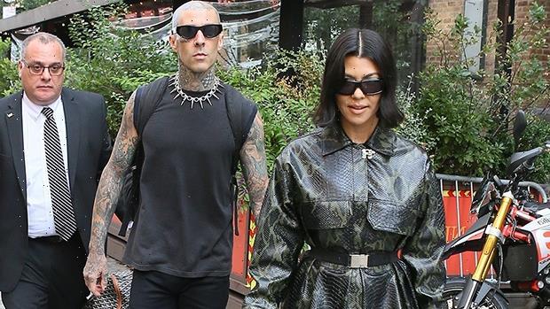 Kourtney Kardashian Steps Out With Travis Barker In Snakeskin Mini Coat & Boots After 'SNL' Spoof