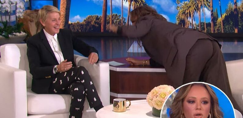Leah Remini Stops Mid-Story to Playfully Slap Ellen DeGeneres During Hilarious Exchange