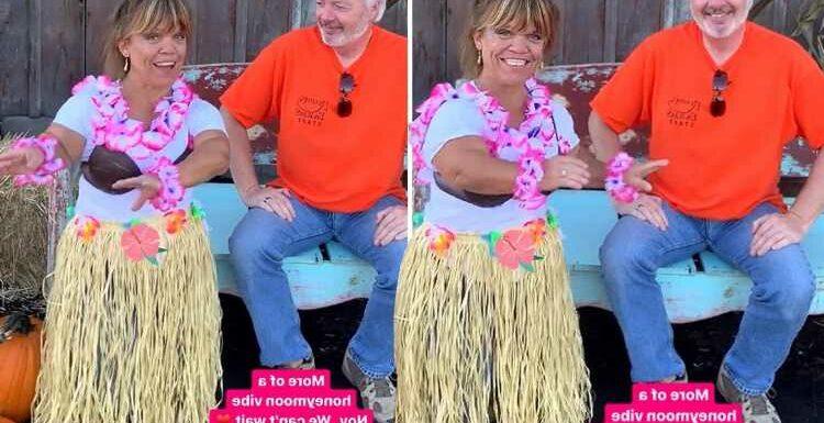 Little People's Amy Roloff dances in coconut bra & grass skirt for new husband Chris Marek ahead of honeymoon in Hawaii