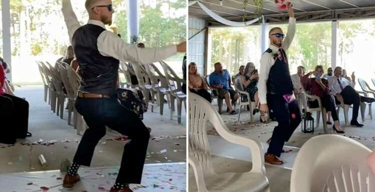 People slam wedding after 'flower man' hip thrusts down aisle to Fergie's London Bridge and guests sit on lawn chairs