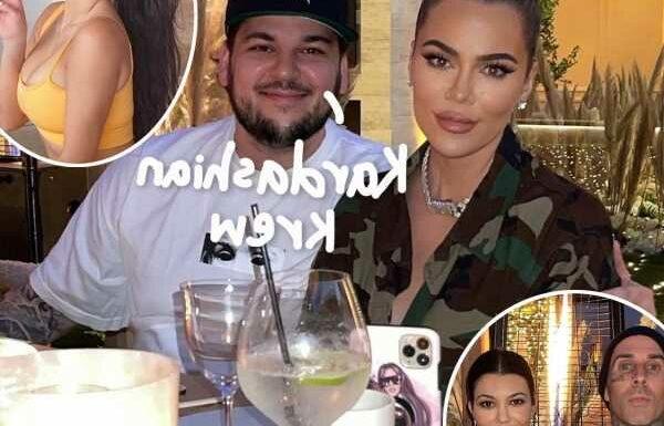 Rob Kardashian Flashes Big Smile In Rare New Pic With Kim, Khloé, Kourtney, & Travis Barker!