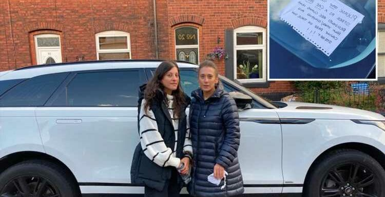 Sisters slam 'jealous' residents who stick 'no parking' notes to their matching Range Rovers with superglue and silicone