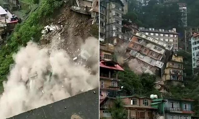 Terrifying moment eight-storey building is swept away and destroyed