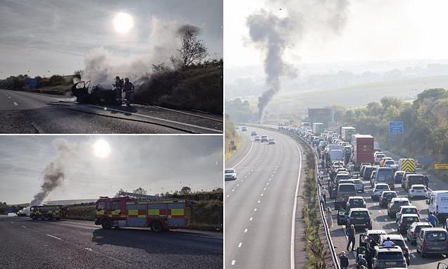 Vehicle fire on the busy M4 causes miles of tailbacks