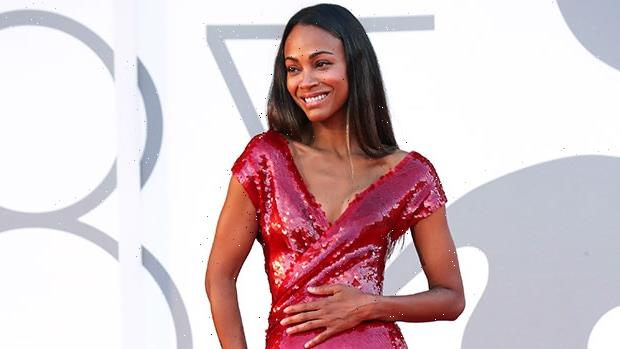 Zoe Saldana Channels Baywatch By Rocking A Sexy Red Swimsuit In The Pool  Photos